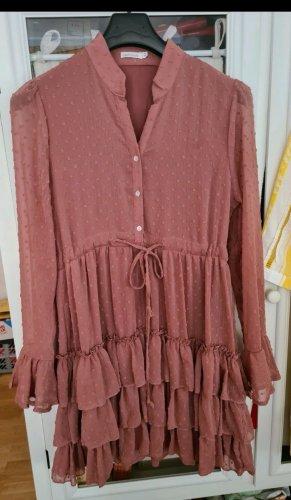 Vintage Dressing Sukienka z falbanami stary róż