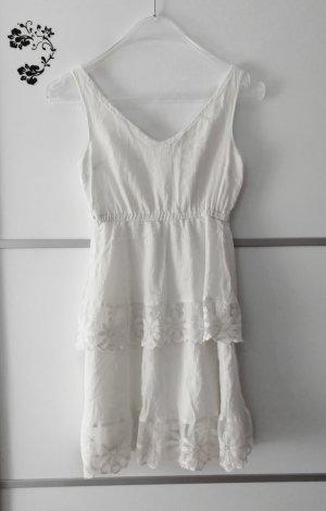 Volant Rüschen Kleid Weiß Gr. S