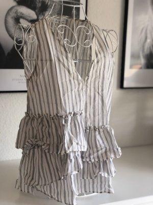 Zara Top con balze bianco-grigio