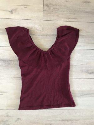 H&M Camisa tipo Carmen burdeos
