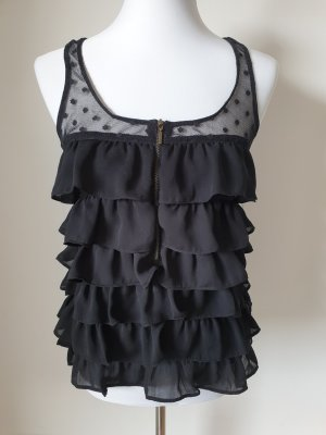 Top met franjes zwart Polyester