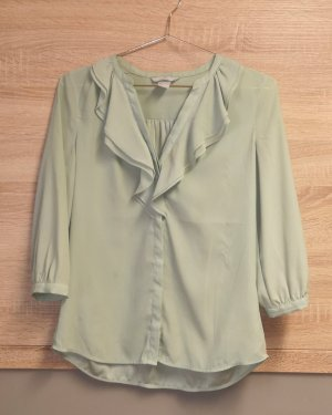 H&M Premium Ruffled Blouse sage green