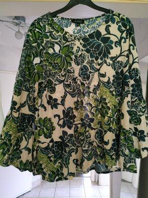 Volantbluse mit Trompetenärmel Gr. 38 grün gemustert Tunika