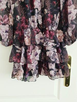 Makadamia Chiffon jurk lichtroze-donkerblauw
