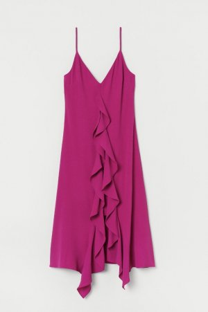 H&M Robe à volants rouge framboise