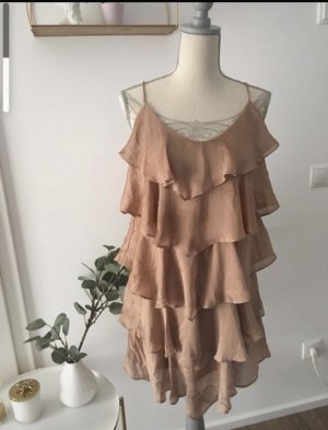 H&M Sukienka z falbanami brąz-jasnobrązowy