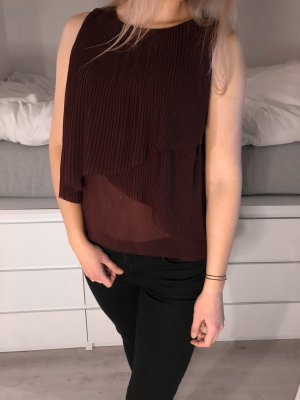 Volants Top Zara Trafaluc bordeaux transparent M