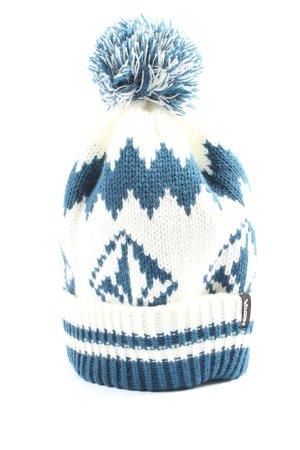 Volcom Bonnet en crochet blanc-bleu imprimé allover style décontracté