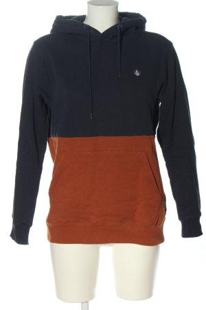Volcom Felpa con cappuccio blu-marrone stile casual