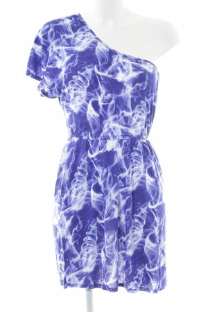 Volcom One-Shoulder-Kleid blau-weiß Allover-Druck Casual-Look