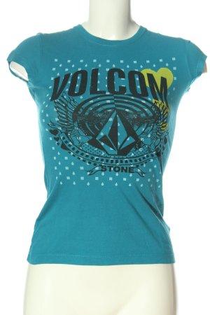 Volcom T-shirt bleu-noir imprimé avec thème style décontracté