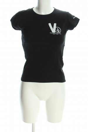 Volcom T-Shirt schwarz-weiß Schriftzug gedruckt Casual-Look
