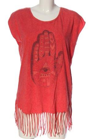 Volcom T-shirt rouge-noir imprimé avec thème style décontracté