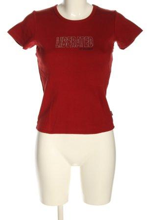 Volcom T-shirt rouge-argenté lettrage imprimé style décontracté