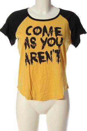 Volcom T-shirt nero-giallo pallido caratteri stampati stile casual