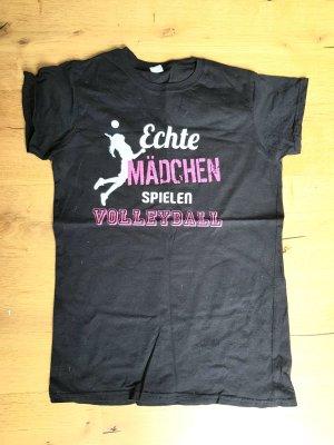 Gildan T-shirt nero-magenta Cotone