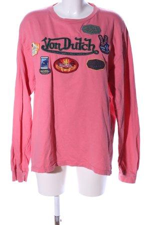 von Dutch Longsleeve pink Schriftzug gestickt Casual-Look