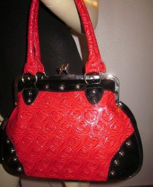 VOODOO VIXEN Handtasche Henkeltasche Bügeltasche Schultertasche Tasche Shopper Bag Gossip Rockabilly rot schwarz Nieten silber geprägt Herzen Rosen Muster