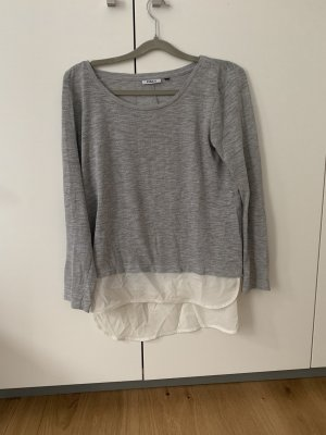 Only Inserción de blusa color plata-blanco