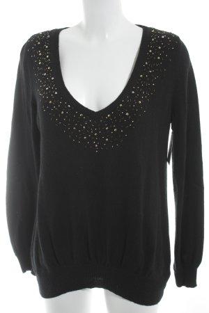 Votre Mode V-Ausschnitt-Pullover schwarz Zopfmuster Elegant