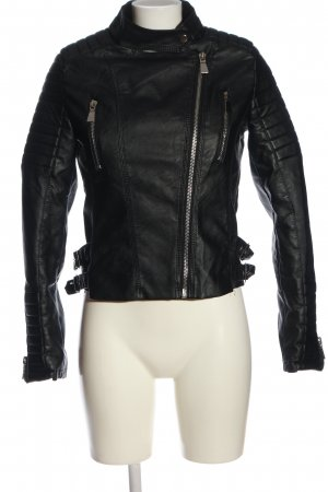 Voyelles Kurtka z imitacji skóry czarny-srebrny W stylu casual