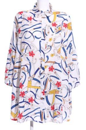 Voyelles Langarm-Bluse abstraktes Muster Casual-Look