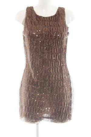 Voyelles Pailettenkleid bronzefarben Allover-Druck Elegant