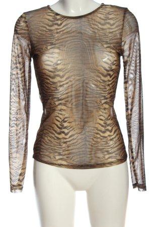 Voyelles Blusa transparente crema-marrón estilo fiesta