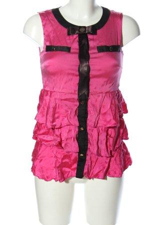 W les Femmes ärmellose Bluse pink-schwarz Elegant