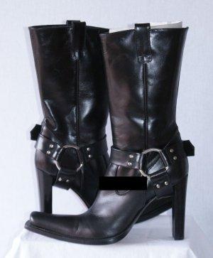 w neu 40 LE SILLA PROJECT Luxus Stiefelette High Heel Stiefel Schwarz Boot €750,-