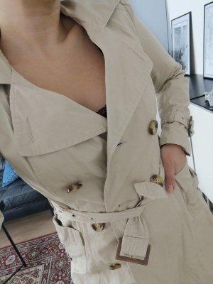 *w. NEU* Primark Trench Coat Mantel Beige Schnallen Kragen klassisch Knöpfe schick boho Gr. 36 S