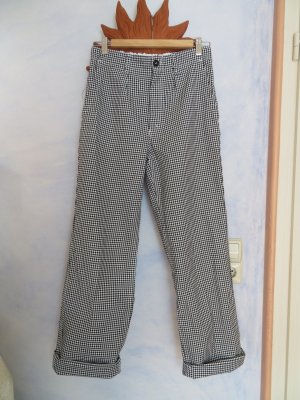 W28 High Rise Sanfor Checked Worker Pants, Black White Houndstooth Twill Workwear High Waist Wide Leg sanforisiert Cotton Utility Pants