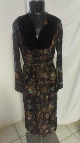 W3 Vintage Kleid Bunt Braun/Türkis Sandro Paris Gr.38 w.Neu