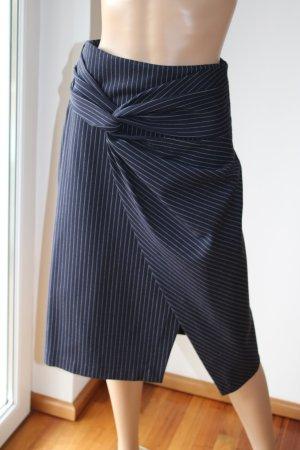 One More Story Wraparound Skirt white-dark blue viscose