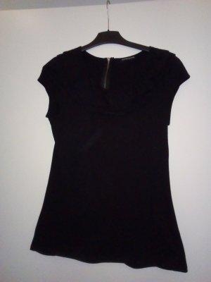 WAERHOUSE T-Shirt schwarz Metallreißverschluss