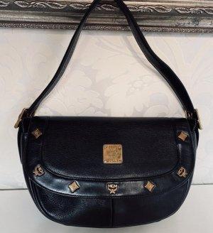 Wahnsinnis MCM Leder Schultertasche Hobo Bag schwarz Gold Tasche  Handtasche Vintage