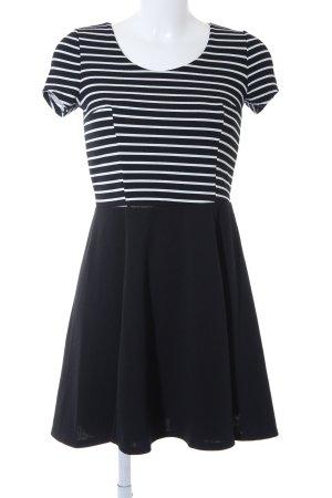 Wal G Kurzarmkleid schwarz-weiß Streifenmuster schlichter Stil