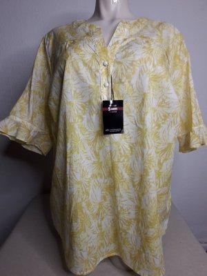 Walbusch Fair Trade T-Shirt Bluse Top Tunika Oberteil Größe 46 48 Baumwolle gelb weiß