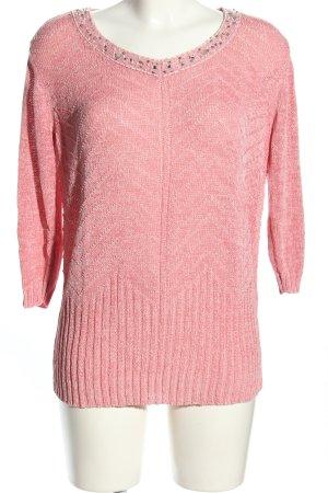 Walbusch Häkelpullover pink Zopfmuster Casual-Look