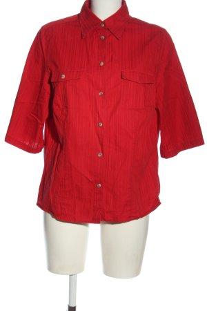 Walbusch Hemd-Bluse rot Streifenmuster Casual-Look