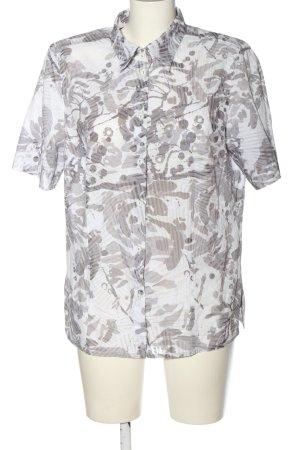 Walbusch Hemd-Bluse weiß-hellgrau abstraktes Muster Casual-Look