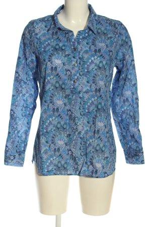Walbusch Hemd-Bluse blau-lila abstraktes Muster Elegant