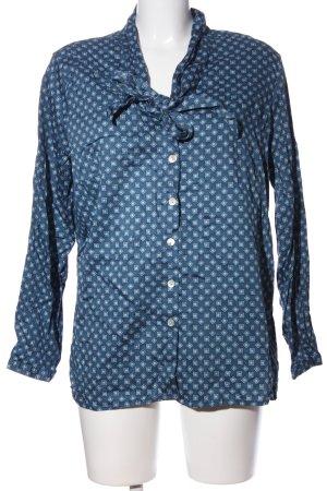 Walbusch Langarm-Bluse blau-türkis Allover-Druck Business-Look