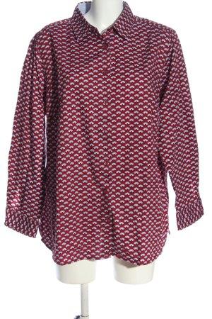 Walbusch Langarmhemd rot-weiß Allover-Druck Casual-Look