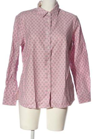 Walbusch Langarmhemd pink-weiß Allover-Druck Business-Look
