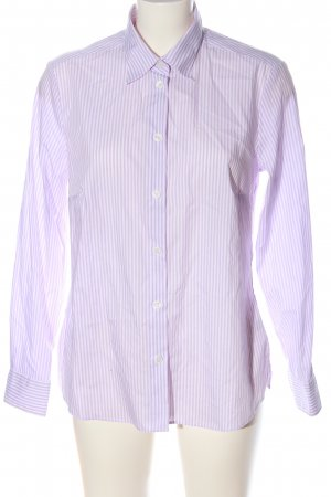 Walbusch Long Sleeve Shirt white-blue striped pattern casual look