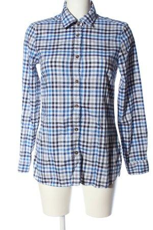 Walbusch Langarmhemd weiß-blau Karomuster Casual-Look