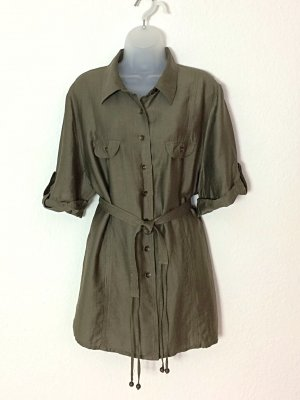 Walbusch Longbluse Hemd Safari-Look Gr. 50 mit Gürtel Khaki Leinen