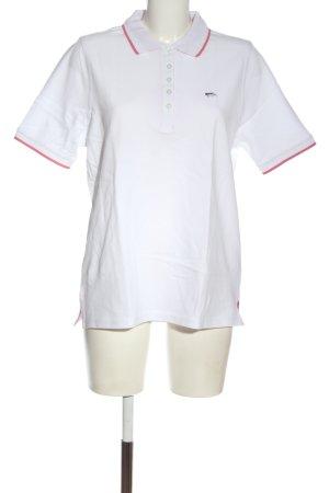 Walbusch Polo blanc-rose élégant
