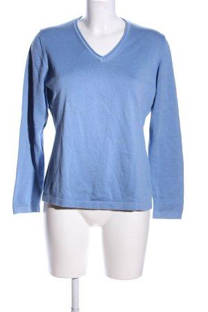 Walbusch V-Ausschnitt-Pullover blau Casual-Look